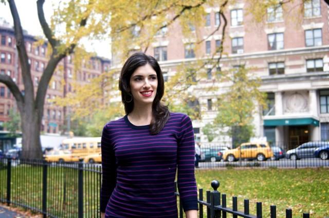 Amanda Hofman in purple striped shirt outside in Upper West Side of NYC.